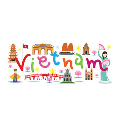 vietnam travel and attraction vector image vector image
