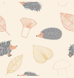 hedgehog autumn seamless pattern vector image