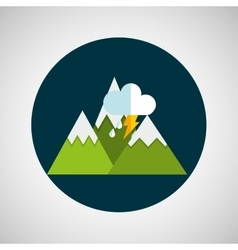 snowy mountains lightning cloud weather concept vector image