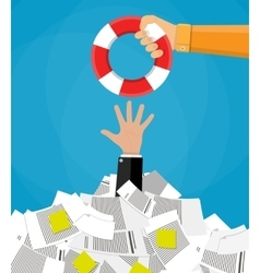 Businessman in pile of documents getting lifebuoy vector