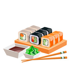different sushi isolated on white background vector image