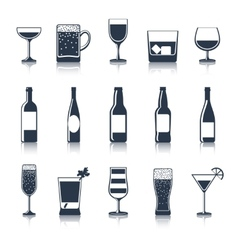 Drink Icons Black vector image