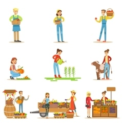 Farmers Men And Women Working At The Farm And vector image vector image