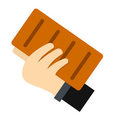 hand holding a brick icon isolated vector image vector image