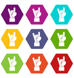 rock and roll hand sign icon set color hexahedron vector image