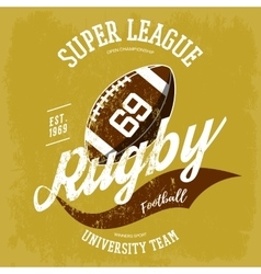Rugby ball logo for t-shirt branding design vector image vector image