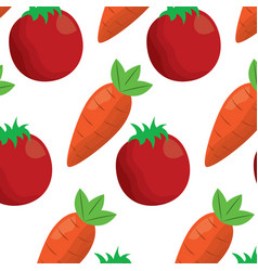 tomato and carrot vegetables fresh seamless vector image