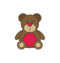 toy icon flat bear vector image