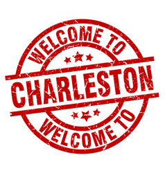 welcome to charleston red stamp vector image