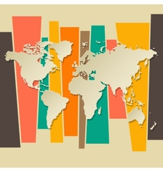 World map paper 3D retro background vector image vector image
