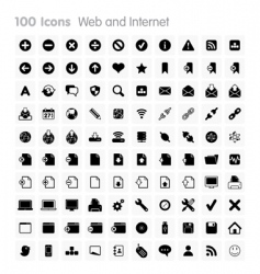 100 icons web and internet vector image vector image