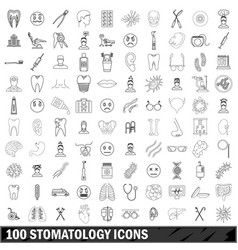 100 stomatology icons set outline style vector