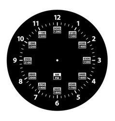 24 hour military time and standard time clock vector