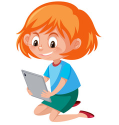 A girl playing tablet vector
