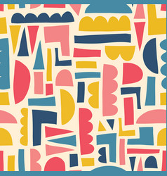 abstract kids shapes seamless pattern paper vector image