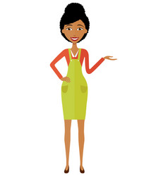 african american woman presenting something vector image