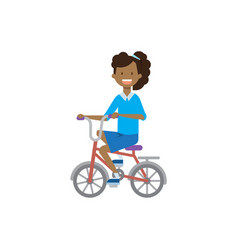 african young girl on bicycle over white vector image
