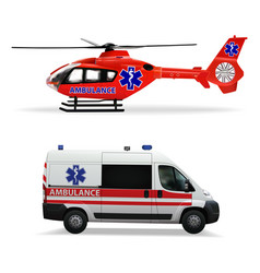 ambulance helicopter and ambulance car air and vector image