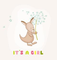 Baby girl kangaroo holding flower shower card vector