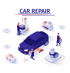 Banner with wheel replacement offer in car service vector