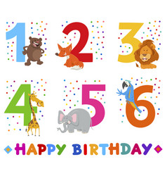 Birthday greeting cards set with animals vector
