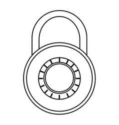 Black line safety lock vector