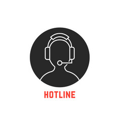 black round hotline icon vector image
