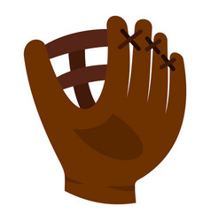 Brown leather baseball glove icon isolated vector