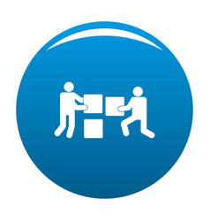 building teamwork icon blue vector image