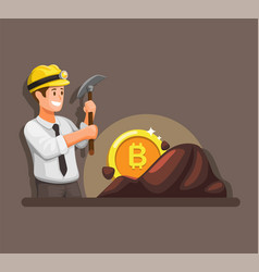 businessman mining bitcoin cryptocurrency symbol vector image