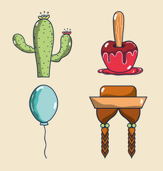 Cactus apple balloon and braids festa junina set vector