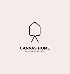 Canvas home logo simple line logo template vector