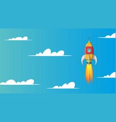 Cartoon rocket in sky vector