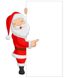 cartoon santa claus showing a blank sign vector image