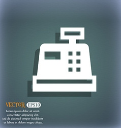 Cash register icon symbol on the blue-green vector