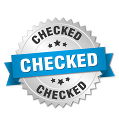 Checked 3d silver badge with blue ribbon vector