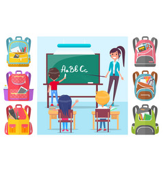 children learning letters at school lesson with vector image