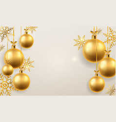 christmas ball background golden xmas tree toys vector image