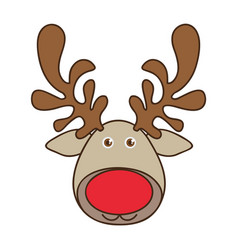 Colorful cartoon funny face reindeer animal vector