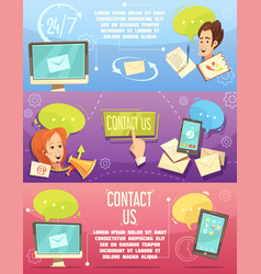 contact us retro cartoon banners set vector image vector image