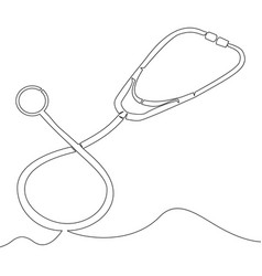 continuous one line drawn stethoscope vector image