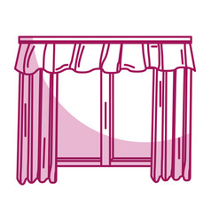 Cute courtain windows icon vector