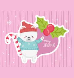 Cute polar bear candy cane holly berry merry vector