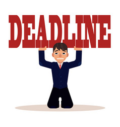 Deadline pressure on businessman - young man in vector