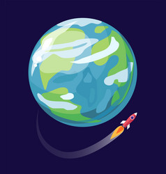 earth and spaceship poster vector image