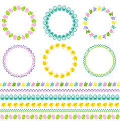 easter circle frames and borders vector image