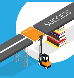 education concept loader lift up book stack of vector image