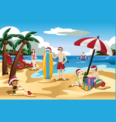 Family celebrating christmas on the beach vector