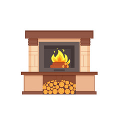 Fireplace with burning logs wooden fuel inside vector