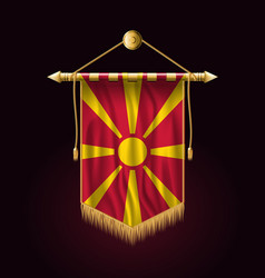 Flag of macedonia festive vertical banner wall vector